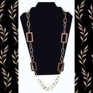 Vintage Wood Block Chained Statement Necklace